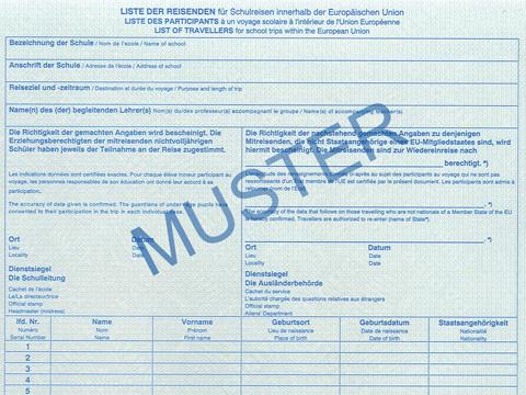reisendenliste bei klassenfahrten - Verpflichtungserklarung Muster