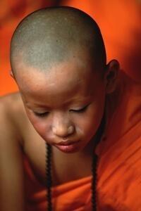 Gebet eines thailändischen Jungen am Ende einer Zeremonie